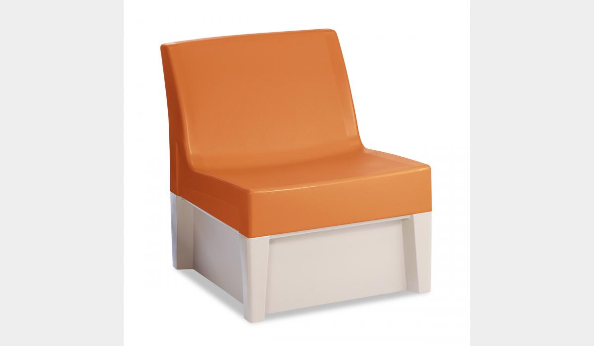 Forte Lounge Armless Chair - Mango White Molded Base